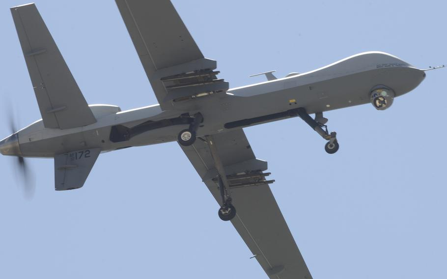 An MQ-9 Reaper performs a low pass during a first-ever air show demonstration at Cannon Air Force Base, N.M., on May 28, 2016. U.S. Africa Command is expected to soon conduct surveillance operations at a new outpost in Niger, which is the only country in western Africa that has agreed to host MQ-9 Reapers.