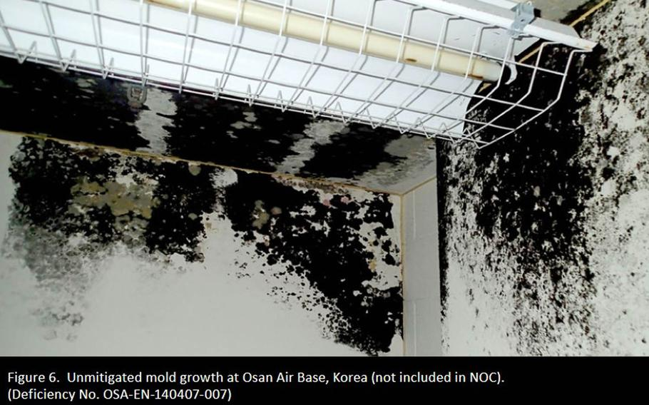 The Office of the Inspector General found fire, electrical and environmental deficiencies, such as the mold shown here in a building in South Korea, to be pervasive problems at military housing worldwide, according to an October report.