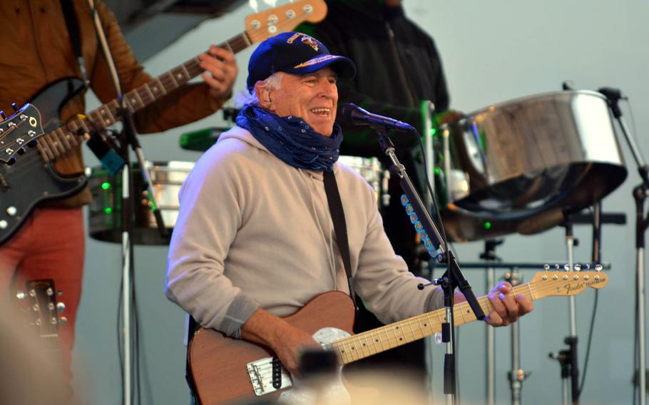 Jimmy Buffett opens his show with the Coral Reefers Band at Yokosuka Naval Base, Japan, Sunday, Oct. 30, 2016. Buffett also played a free show for servicemembers on Okinawa a couple of days earlier.