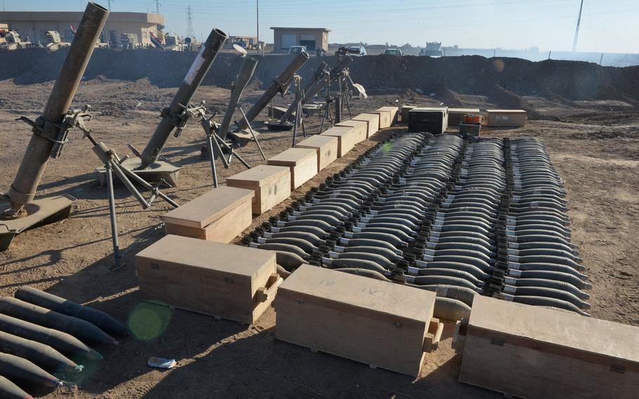 Islamic State militants have adopted manufacturing processes like those used by national militaries to produce thousands of munitions and other weapons, such as these mortars and mortar tubes, pictured here on display near an Iraqi army tactical base outside Mosul on Saturday, Nov. 19, 2016.