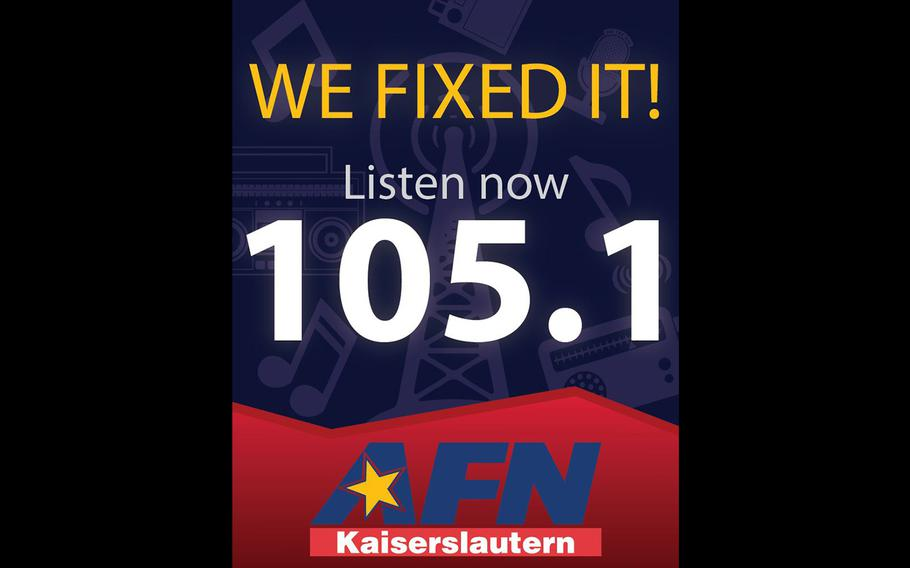 AFN Kaiserslautern will switch to a U.S. radio-friendly frequency on Jan. 18, 2017, to allow local listeners to access the station in American vehicles, the agency announced.