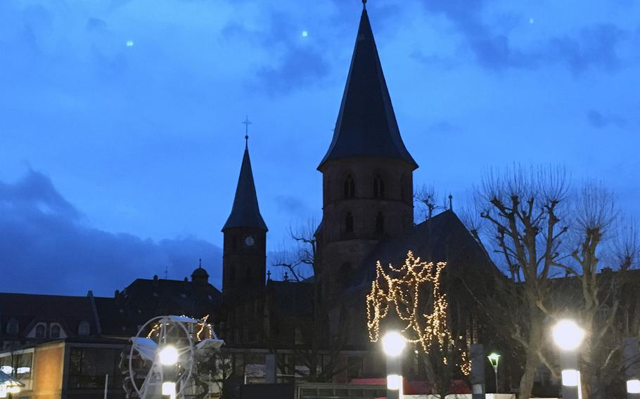 A view of the Stiftskirche in downtown Kaiserslautern, Germany. Two men were arrested on suspicion of planning a New Year's Eve attack in the city center using fireworks and pyrotechnics. Police suspect they belong to a right-wing group and have ruled out a link to Islamists.