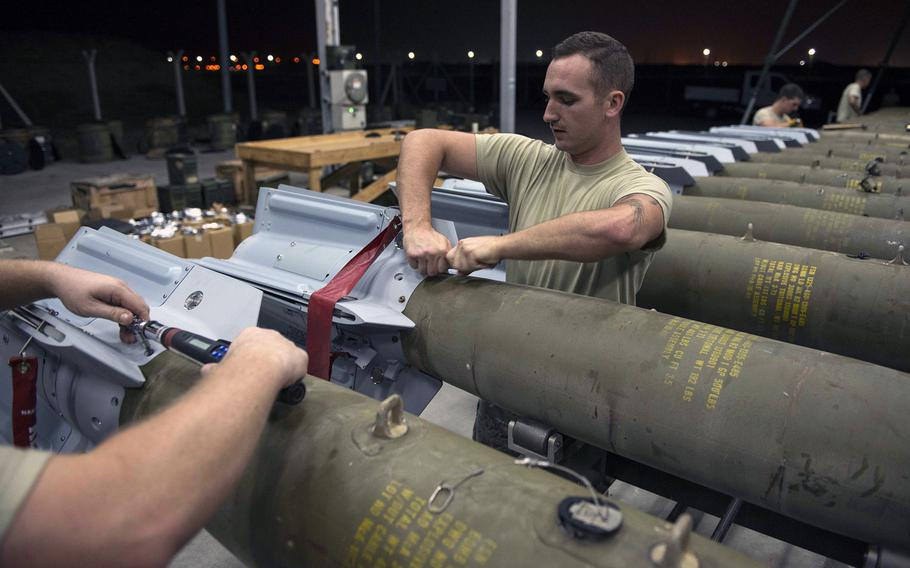 U.S. Airmen assigned to the 447th Expeditionary Aircraft Maintenance Squadron attach fins to GBU-12 Paveway II laser-guided bombs Aug. 8, 2016, at Incirlik Air Base. Turkey has expressed frustration with what it says is insufficient air support for the country's offensive against Islamic State fighters in the Syrian town of al-Bab.