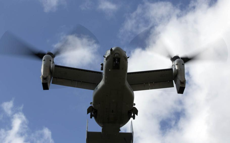 A Marine Corps MV-22B Osprey from Marine Medium Tiltrotor Squadron 265, Marine Aircraft Group 36, 1st Marine Aircraft Wing prepares to land during an air-assault drill as part of November's Blue Chromite exercise on Okinawa.