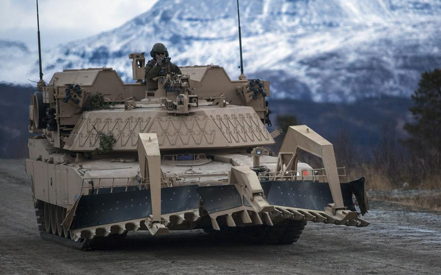 U.S. Marines from the Black Sea Rotational Force Combined Arms Company conduct a battalion-level live-fire exercise with the Norwegian army in Setermoen, Norway, Nov. 17, 2016.