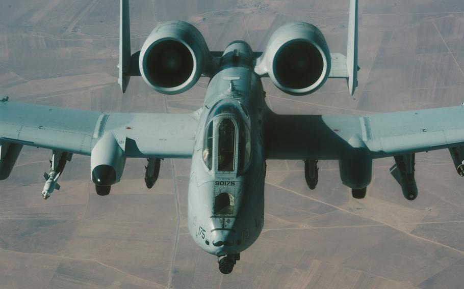"""An A-10 Thunderbolt II flies over Iraq, Nov. 29, 2016. Even as the future of the A-10 hangs in the balance, nearly two dozen Warthogs recently received upgrades to enhance their combat search and rescue capabilities, a need described as """"urgent"""" by one Air Force official, according to an Air Force statement."""