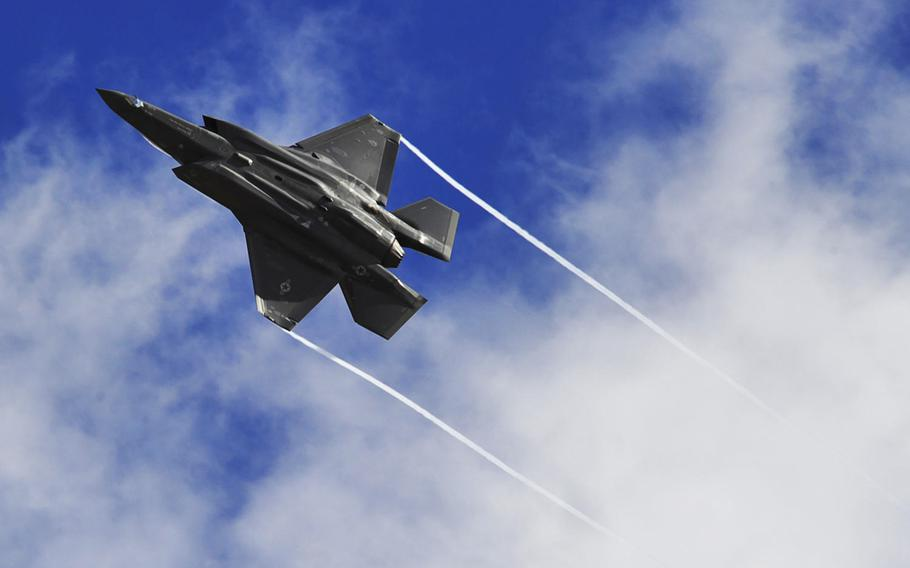 An F-35 Lightning II performs a maneuver over Luke Air Force Base, Ariz. The planes will start arriving at RAF Lakenheath in England in 2021, and work will begin soon on remodeling buildings to accommodate new squadron operations and maintenance facilities and a flight simulator.