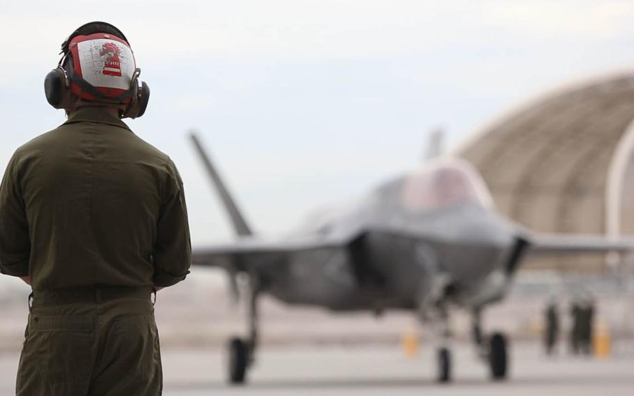 An F-35B lightning II with Marine Fighter Attack Squadron 121 prepares to take off from Marine Corps Air Station Yuma, Ariz., Jan. 9, 2017, en route to Marine Corps Air Station Iwakuni, Japan. VMFA-121 is the first operational F-35B squadron assigned to the Fleet Marine Force, with its relocation to 1st Marine Aircraft Wing at Iwakuni.
