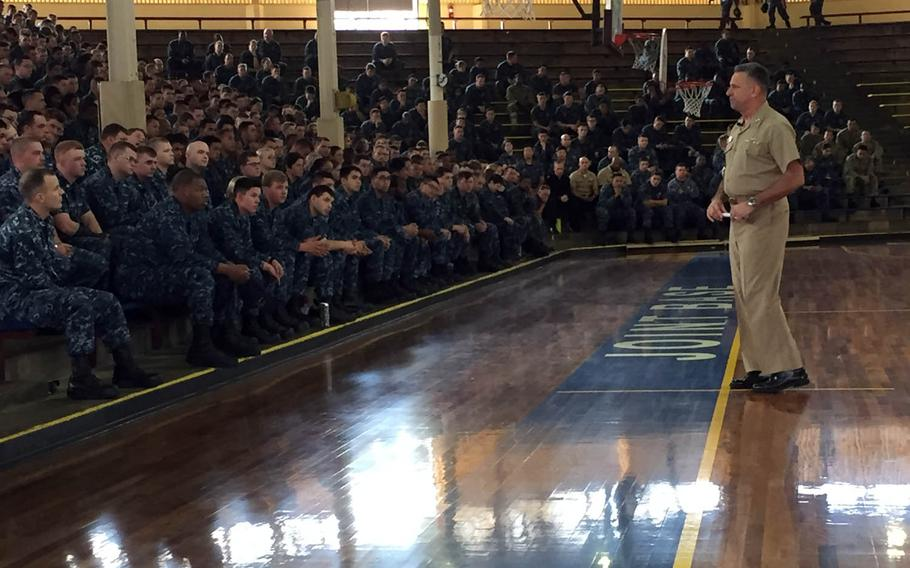Vice Adm. Robert Burke, chief of Naval Personnel, speaks with sailors at Joint Base Pearl Harbor-Hickman, Hawaii, during an all-hands call that focused on Sailor 2025 and other personnel issues, Monday, Jan. 9, 2017.