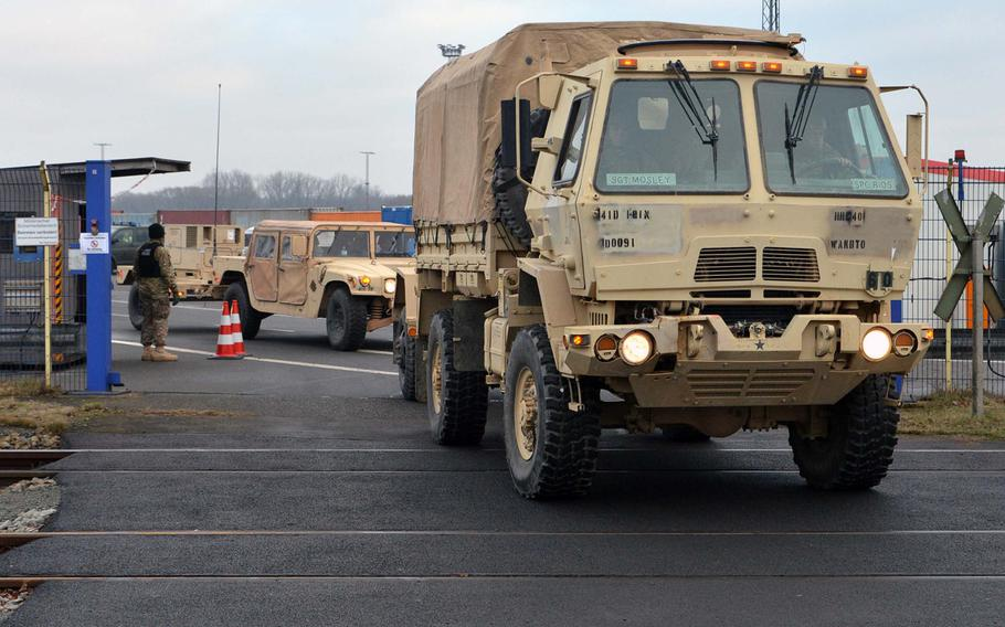 U.S. Army vehicles from the 3rd Armored Brigade Combat Team, 4th Infantry Division, depart the port of Bremerhaven, Germany, on Monday, Jan 10, 2017. They were headed for Poland for a nine-month rotation.