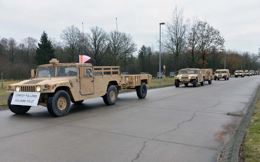 A convoy of vehicles of the 3rd Armored Brigade Combat Team, 4th Infantry Division arrives at a training area near Bergen, Germany, after driving from Bremerhaven on the way to Poland, on Monday, Jan. 9, 2017. The convoy is scheduled to arrive in Poland on Thursday.
