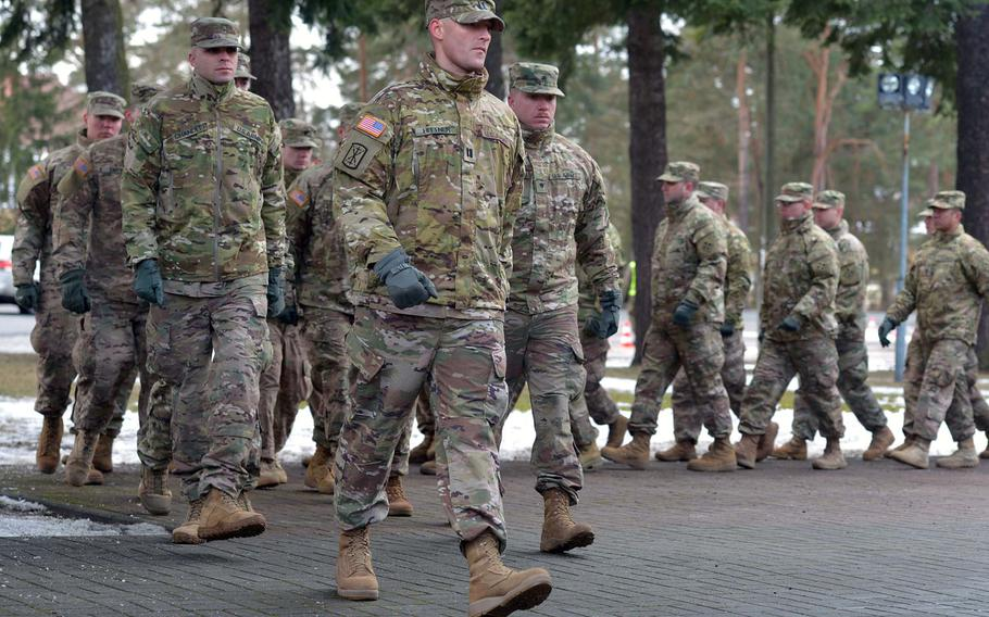 American soldiers of 3rd Armored Brigade Combat Team, 4th Infantry Division, march off the grounds after a welcoming ceremony in Zagan, Poland, Thursday, Jan. 12, 2017. The unit is on a nine-month deployment to eastern Europe as part of Operation Atlantic Resolve.