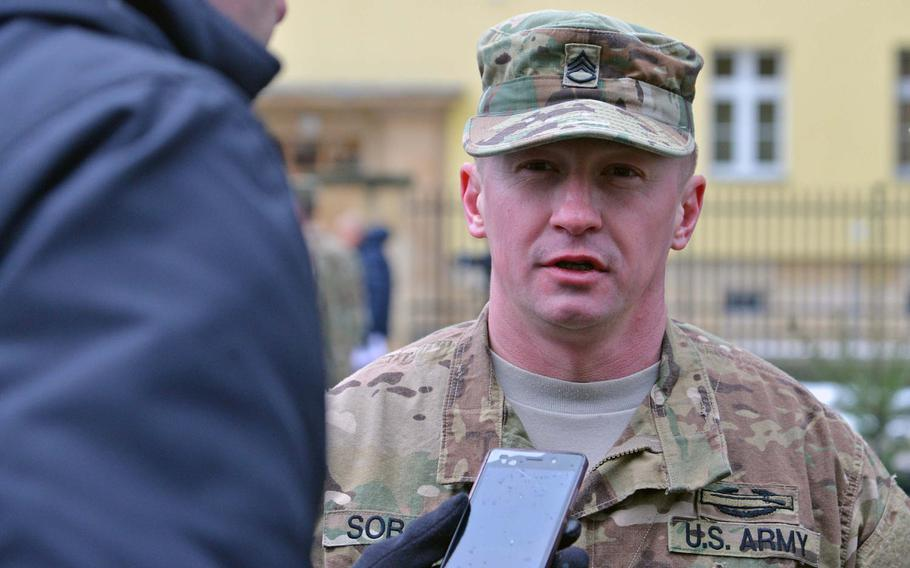 A Polish journalist interviews Staff Sgt.Tomasz Sobota after a welcoming ceremony for 3rd Armored Brigade Combat Team, 4th Infantry Division, in Zagan, Poland, Thursday, Jan. 12, 2017.