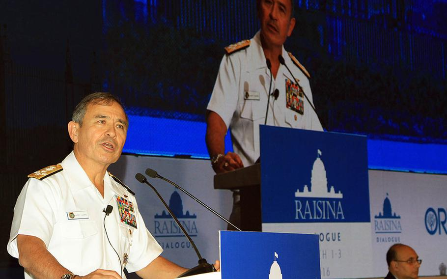 """Adm. Harry Harris, U.S. Pacific Command commander, speaks at the inaugural Raisina Dialogue in New Delhi, India, in 2016. At this year's conference, Harris said cooperation between the U.S. and India is """"so upward, it's through the roof."""""""