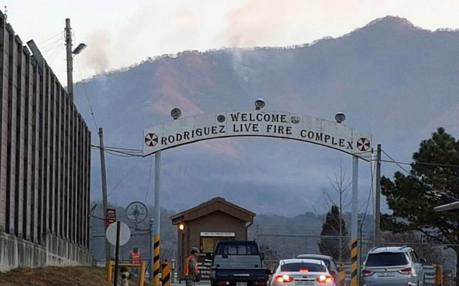 A U.S. Kiowa helicopter sparked a fire during a training exercise on the mountainside at the Rodriguez Live Fire Range, South Korea, on Tuesday, Jan. 17, 2016. The fire was extinguished Wednesday, but the blaze left an area the size of half a football field charred.