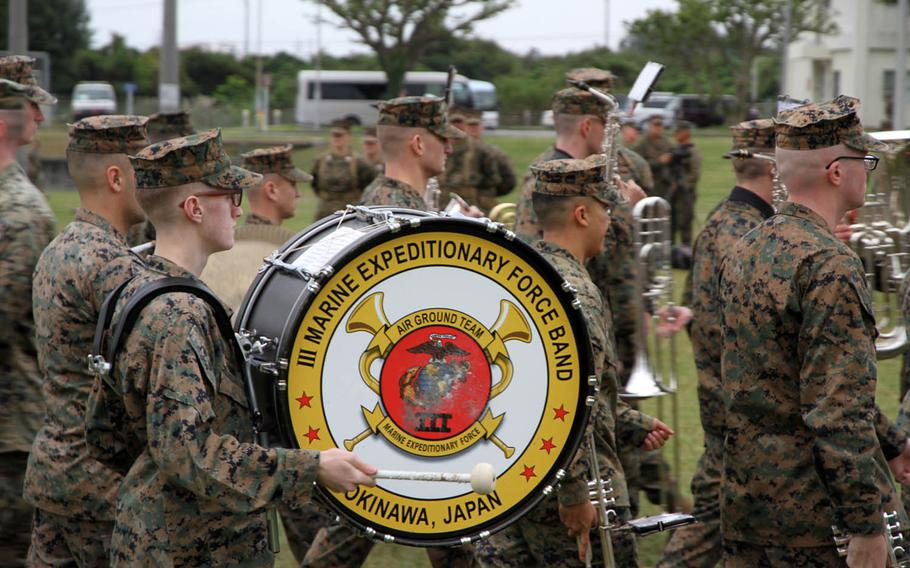 The 3rd Marine Expeditionary Force Band plays during a change-of-command ceremony for the 3rd Marine Division at Camp Courtney, Okinawa, Friday, Jan. 20, 2017.
