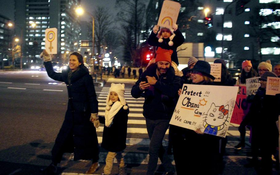 Families and children were amongst the participants of the Women's March in  Tokyo on Jan. 20, 2017.