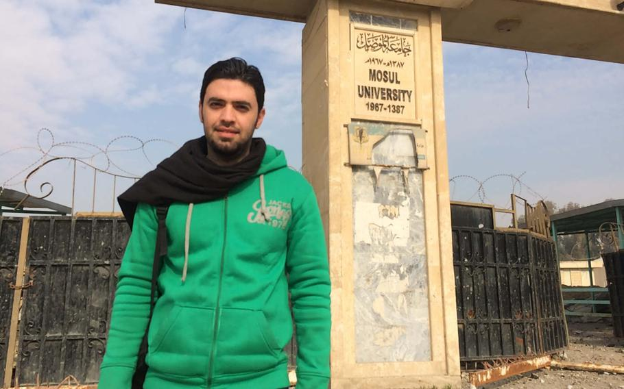 English student Saad Subhi, 27, visited Mosul University on Saturday, Jan. 21, 2017, to survey damage done in fighting to evict Islamic State militants from the campus earlier in the week.