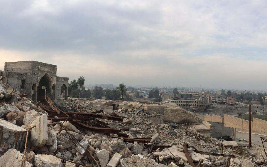 """View from the ruins of the recently liberated Nabi Yunus Mosque, also known as the """"Tomb of Jonah,"""" in Mosul, Iraq, on Saturday, Jan. 21, 2017. The mosque was blown up by Islamic State militants."""