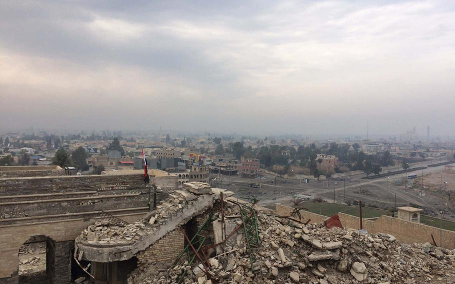 View from the ruins of Nabi Yunus Mosque in Mosul, Iraq, on Saturday, Jan. 21, 2017. The mosque was blown up by Islamic State militants.