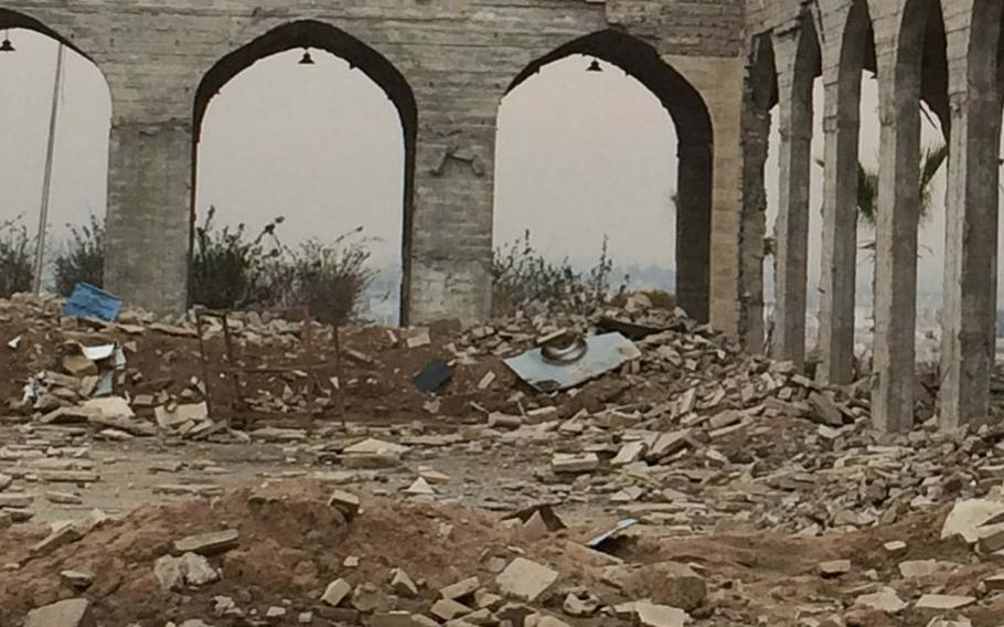 """The ruins of Nabi Yunus Mosque, also known as the """"Tomb of Jonah,"""" in Mosul, Iraq on Saturday, Jan. 21, 2017. The mosque was blown up by Islamic State militants."""