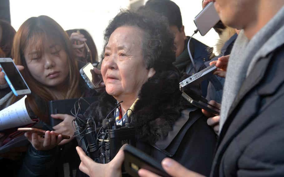 Lee Bok-su, the mother of a South Korean college student murdered in 1997, talks to reporters outside the Supreme Court in Seoul on Wednesday, Jan. 25, 2017. The court upheld a 20-year prison sentence for Arthur Patterson, the former U.S. Forces Korea dependent convicted in the killing.