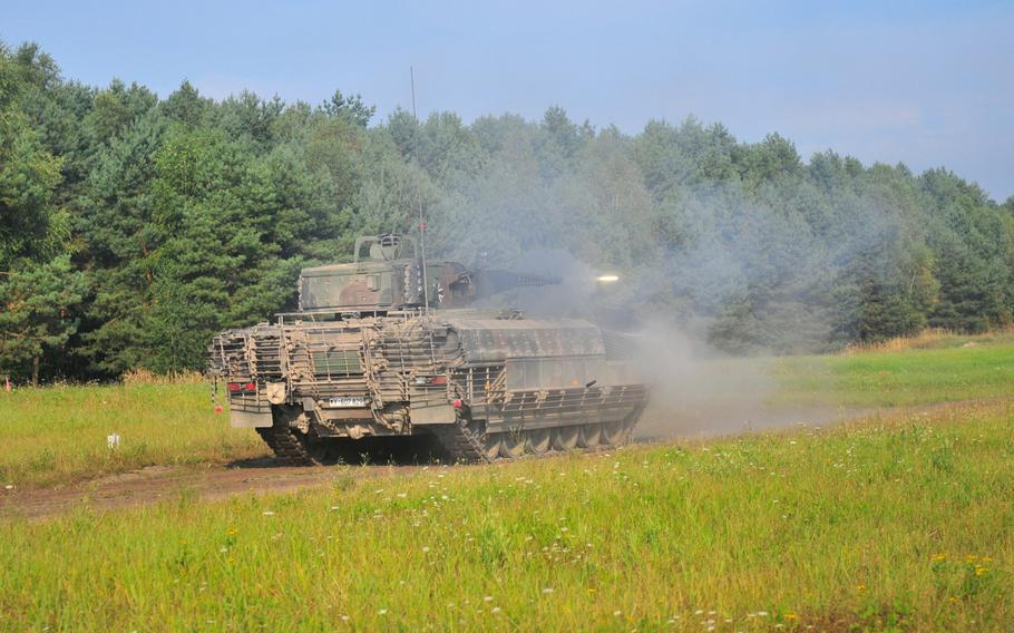 A German Bundeswehr mechanized infantry unit fires on a live-fire range in Bergen, Germany, in September. Like many other NATO members, Germany is nervous about President Donald Trump's commitment to the alliance.