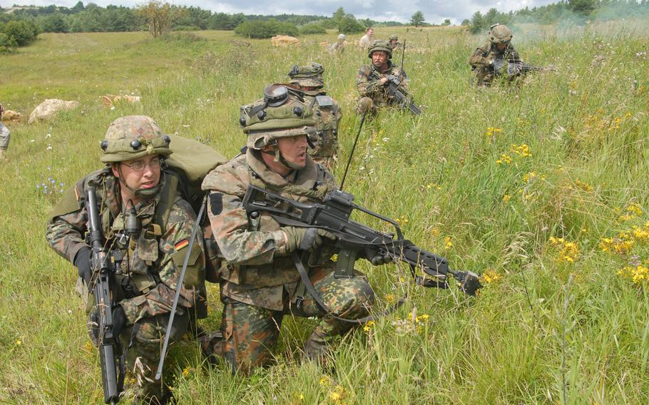 German soldiers train for deployment to Afghanistan at Hohenfels in 2005. German troops have been part of the NATO-led coalition in in that country for more than a decade.