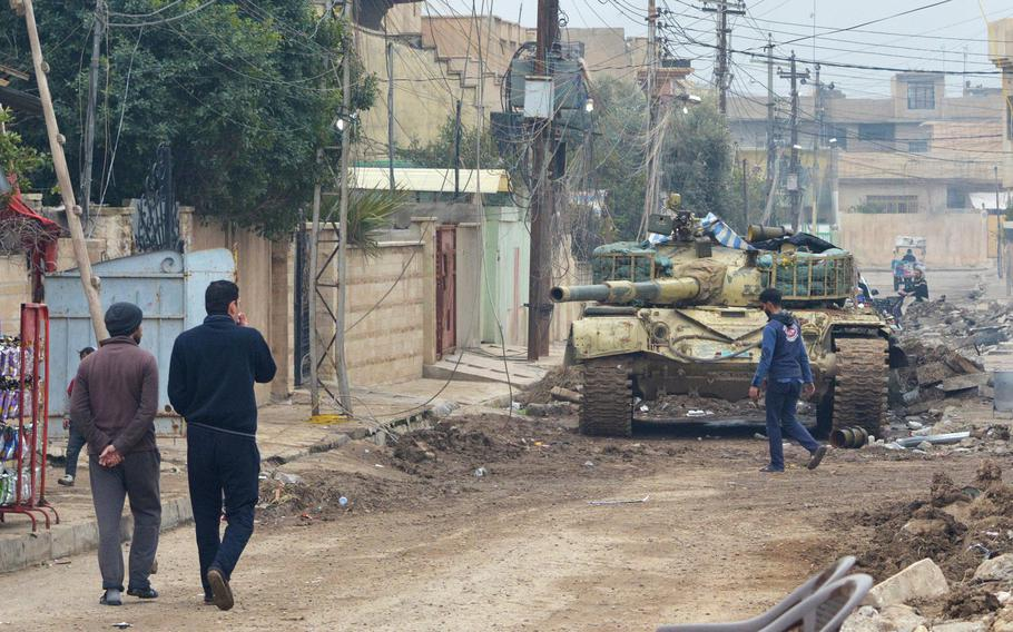 A T-72 Tank in Mosul, Iraq on Wednesday. The tanks have given government forces an advantage in the east of the city but troops expect they won't be able to access narrow, winding streets in old neighborhoods west of the Tigris River.