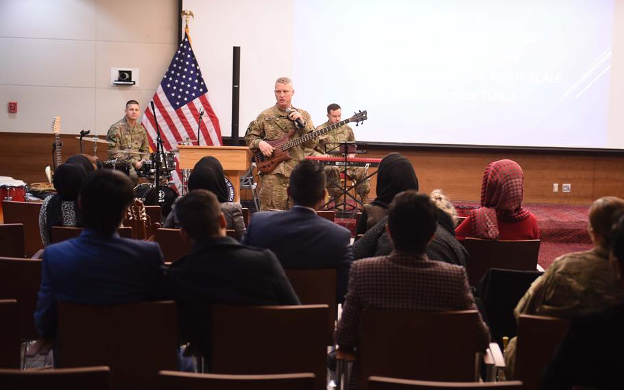 Sgt. Wesley Wagner heads a workshop on jazz improvisation during a three-day conference with music students and instructors from Kabul University at the U.S. Embassy,Wednesday, Jan. 25, 2017.