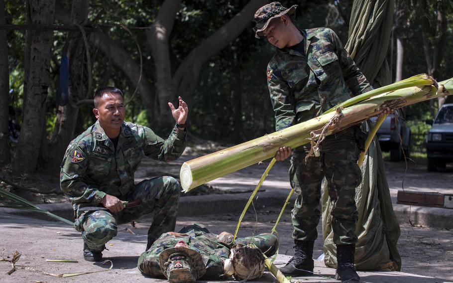 Royal Thai Marine Prasansai Pairoj shows American, Thai and South Korean troops how to find water during jungle survival training during Cobra Gold drills last year in Sattahip, Thailand.