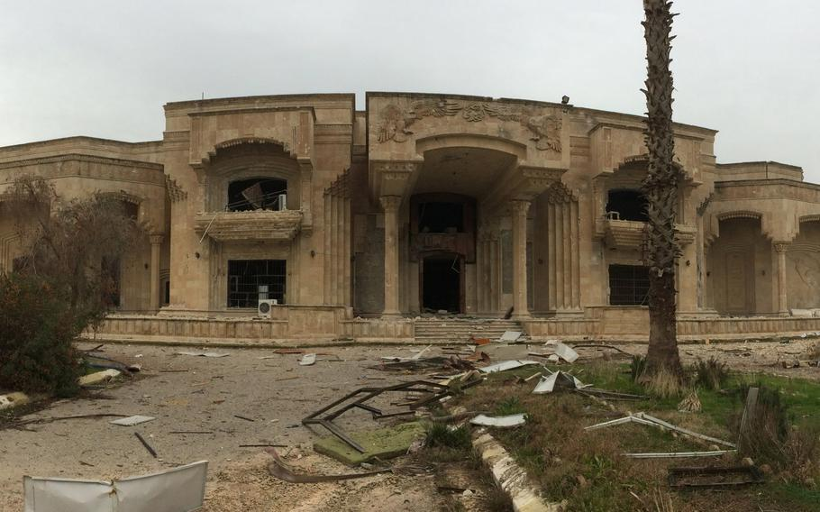Iraqi soldires are wary of going too close to some of the palaces they have captured in Mosul, Iraq. The buildings are full of tunnels and may be booby-trapped.