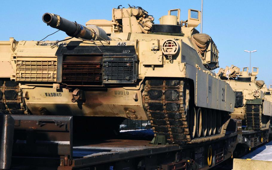 M1 Abrams tanks arrive at the Grafenwoehr Training Area, Germany, Friday, Jan. 27, 2017. The first wave includes 17 tanks, with more to come throughout the week.