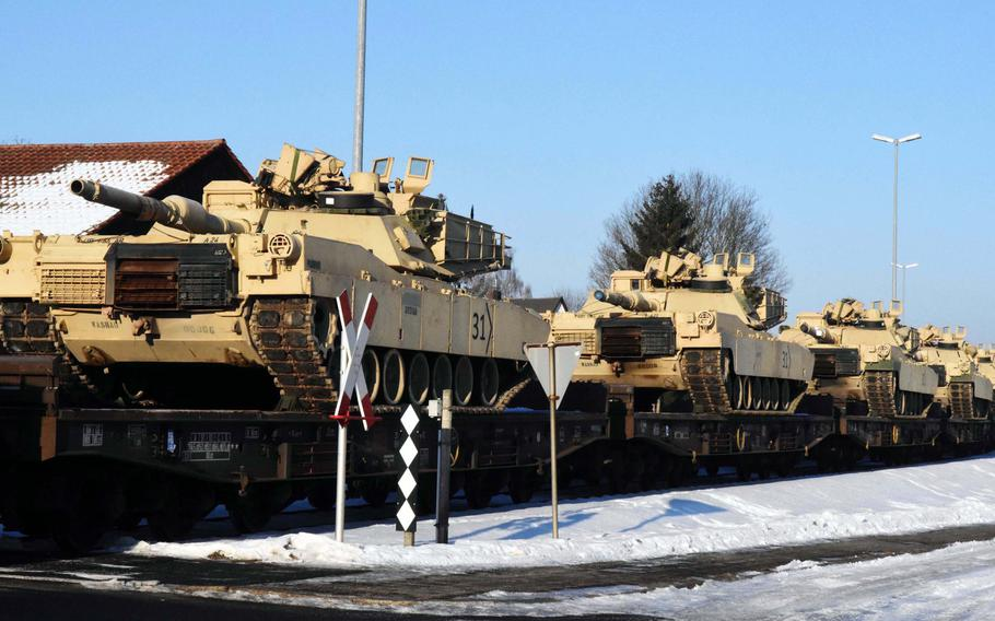M1 Abrams tanks arriving to the Grafenwoehr Training Area, Germany, Friday, Jan. 27, 2017. These are the first tanks to push out from Poland during Operation Atlantic Resolve.   Martin Egnash/Stars and Stripes