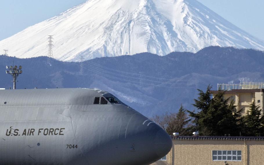 A C-5M Super Galaxy arrives at Yokota Air Base, Japan.