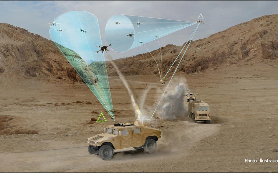 Private and military organizations are researching ways to protect troops from armed drones. This illustration, from the Defense Advanced Research Projects Agency, is a conceptual drawing of how a mobile airborne system could track and possibly jam incoming drone swarms.