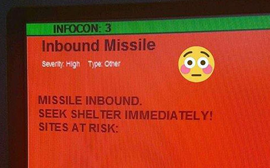 """An altered screenshot of the test """"incoming missile"""" message that was inadvertently sent to all airmen with the 52nd Fighter Wing at Spangdahlem Air Base, Germany, on Tuesday. The screenshot, adding an emoji that wasn't on the original message, was posted by someone to the Air Force amn/nco/snco Facebook page."""