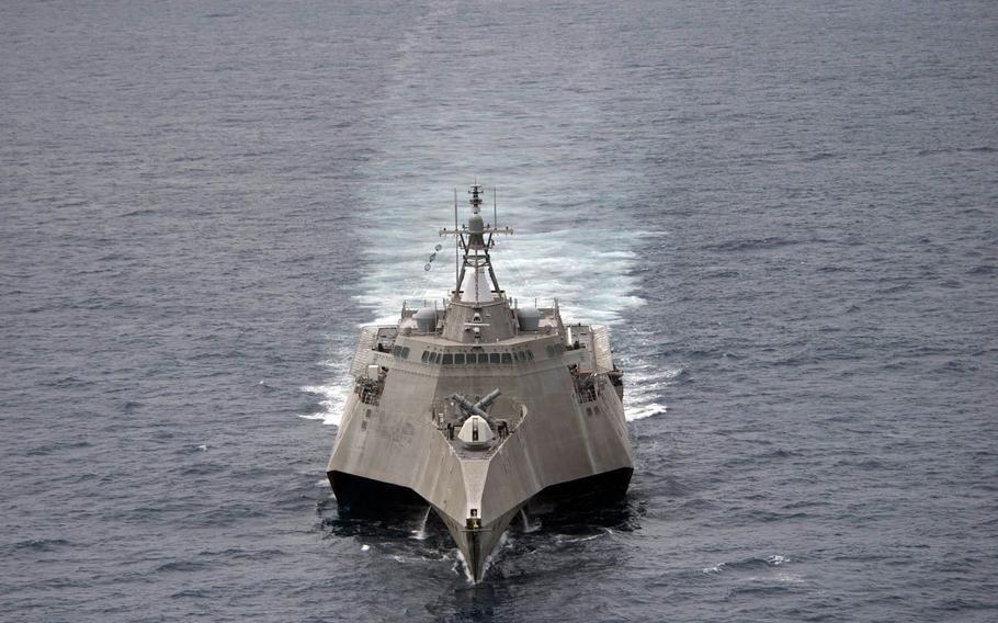 The USS Coronado, a littoral combat ship, conducts drills in the South China Sea, Feb. 1, 2017.