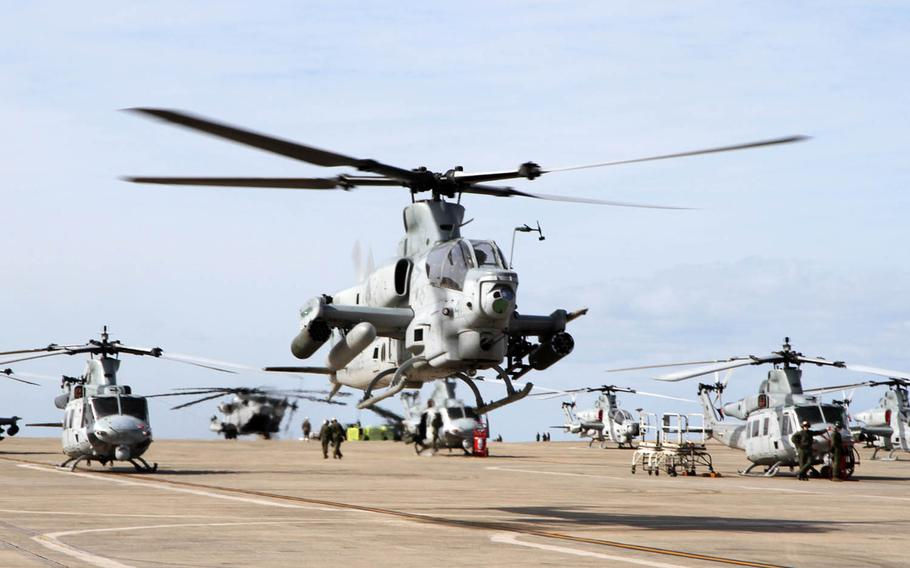 An AH-1Z Viper attack helicopter lifts off at Marine Corps Air Station Futenma, Okinawa, Feb. 3, 2017.