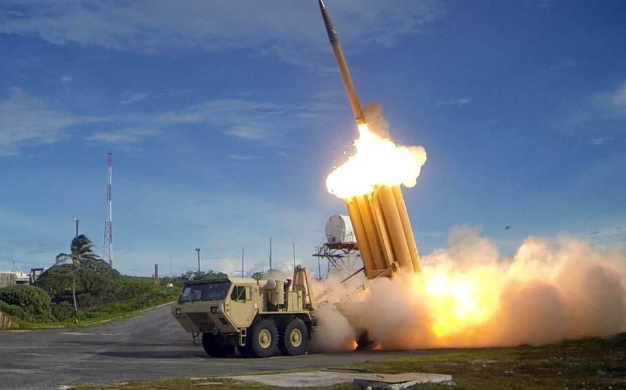 A Terminal High Altitude Area Defense, or THAAD, interceptor is launched during a test in 2013.