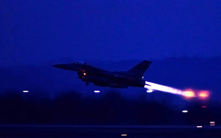An F-16 Fighting Falcon assigned to the 36th Fighter Squadron takes off during Exercise Beverly Herd 17-1 at Osan Air Base, South Korea, Tuesday, Feb. 28, 2017.