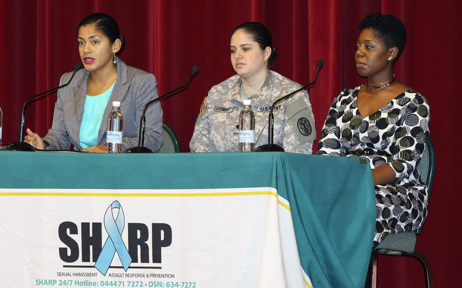 Capt. Joanna Moore, left, and Spc. Brittany Leitner, center, discussed their sexual assaults at a SHARP summit on sexual harassment and assault  on Thursday, March 3, 2017, at Caserma Ederle in Vicenza, Italy. With them was Stacy Taylor, a Sexual Assault & Response coordinator.