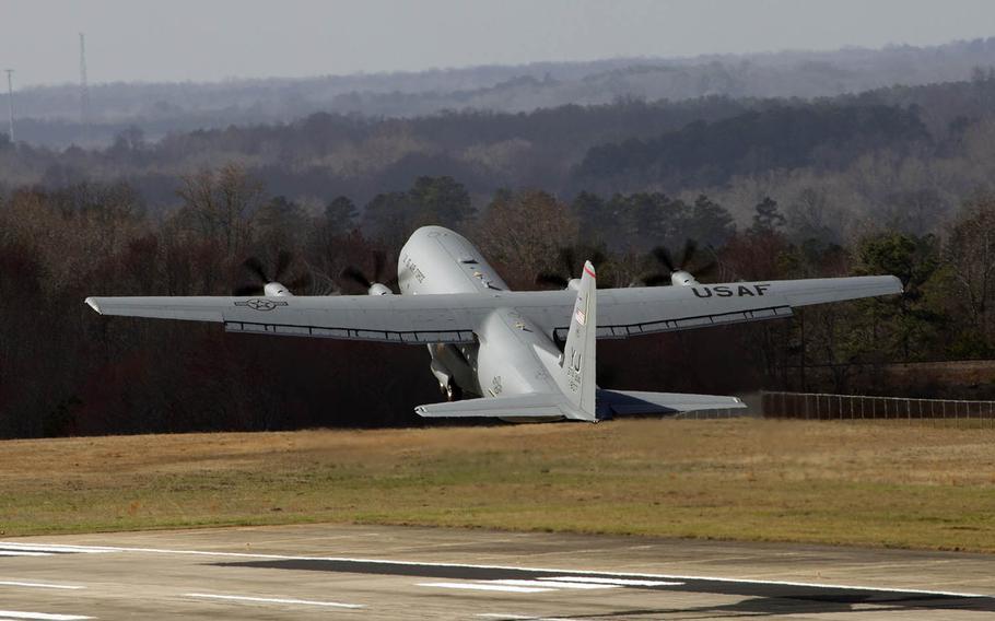 A C-130J Super Hercules takes off from a Lockheed Martin facility in Marietta, Ga., on Feb. 24, 2017. The new cargo plane will be based at Yokota Air Base, Japan.