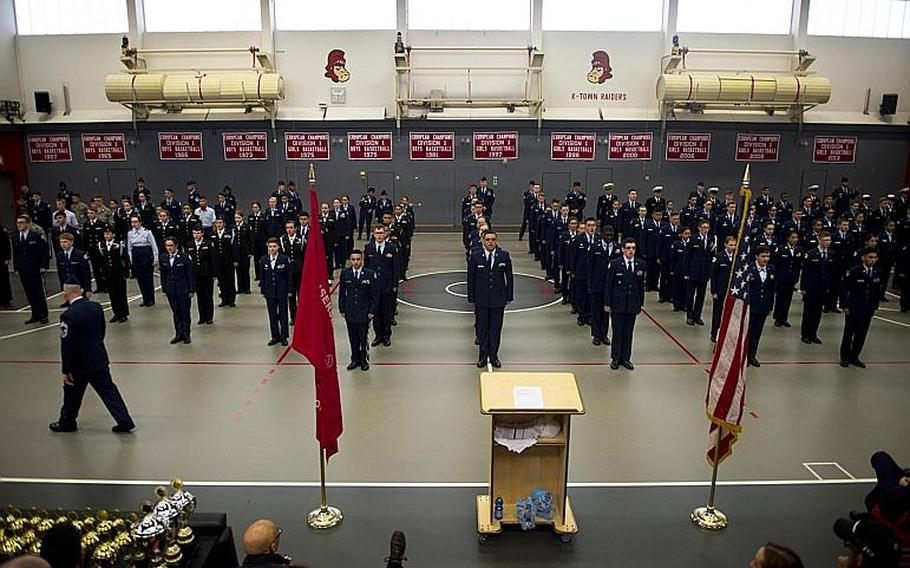 Cadets line up for the individual drill routine during the DODEA-Europe JROTC drill team championships in Kaiserslautern, Germany, on Saturday, March 4, 2017.