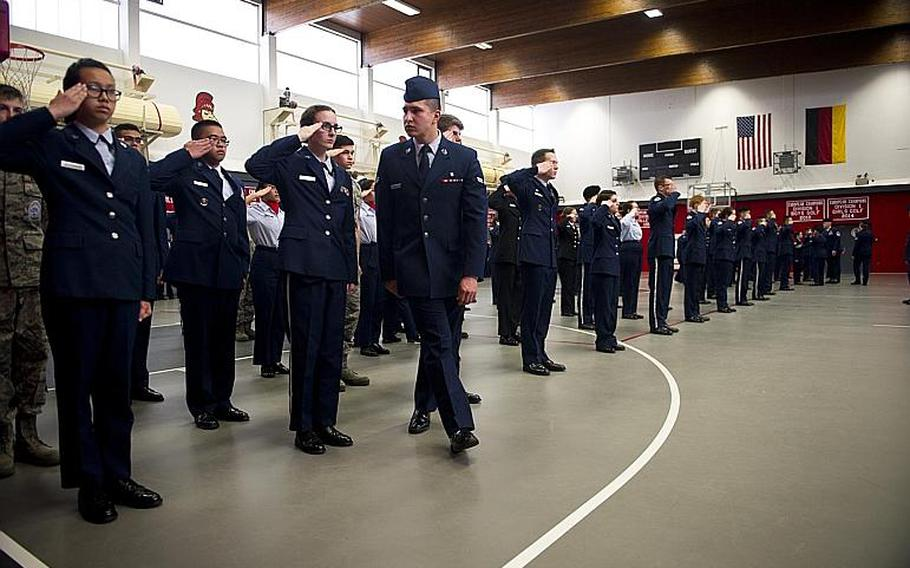 Cadets compete in the individual drill routine during the DODEA-Europe JROTC drill team championships in Kaiserslautern, Germany, on Saturday, March 4, 2017.
