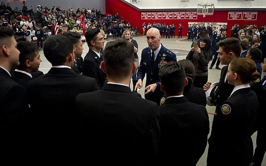 Maj. Gen. Timothy Zadalis, U.S. Air Forces in Europe and Africa vice commander, center, speaks to cadets during the DODEA-Europe JROTC drill team championships in Kaiserslautern, Germany, on Saturday, March 4, 2017.