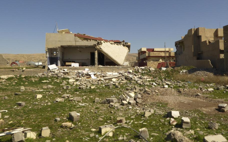A destroyed home is pictured here in Bashiqa, Iraq, on Monday, March 6, 2017. Fighting to reclaim the largely abandoned village from Islamic State fighters in fall of 2016 left many structures leveled. Water and electric service have not yet been restored, but some families have begun to return to the community.