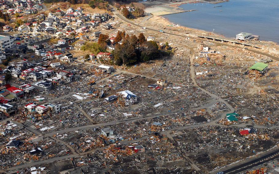 An aerial view of damage to Sukuiso, Japan, a week after a 9.0-magnitude earthquake and subsequent tsunami devastated the area.