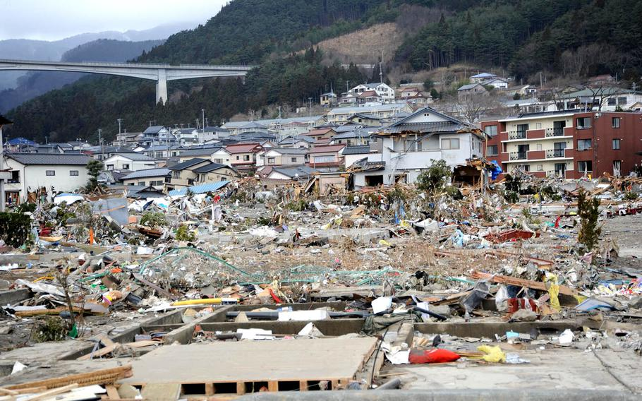 Houses and apartment buildings are seen in Ofunato, Japan, after a 9.0-magnitude earthquake triggered a devastating tsunami that affected the coastal city.