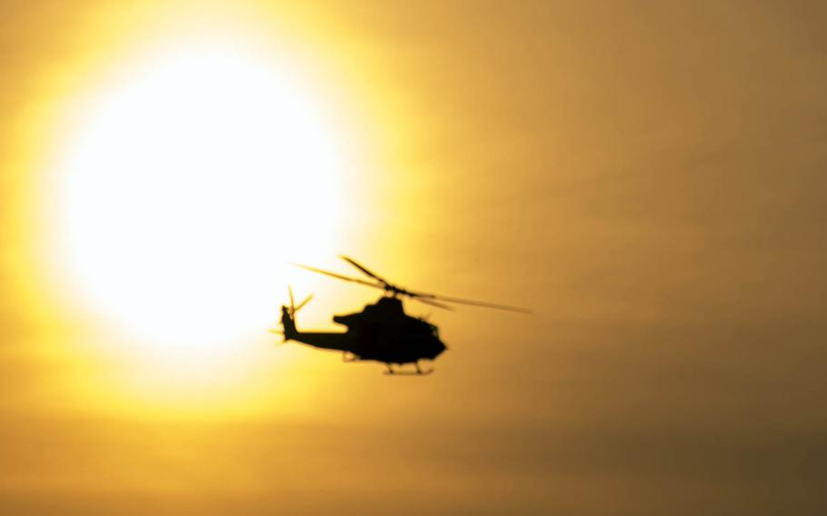 A UH-1Y Venom participates in a training exercise at Joint Base McGuire-Dix-Lakehurst, N.J., Feb. 22, 2017.